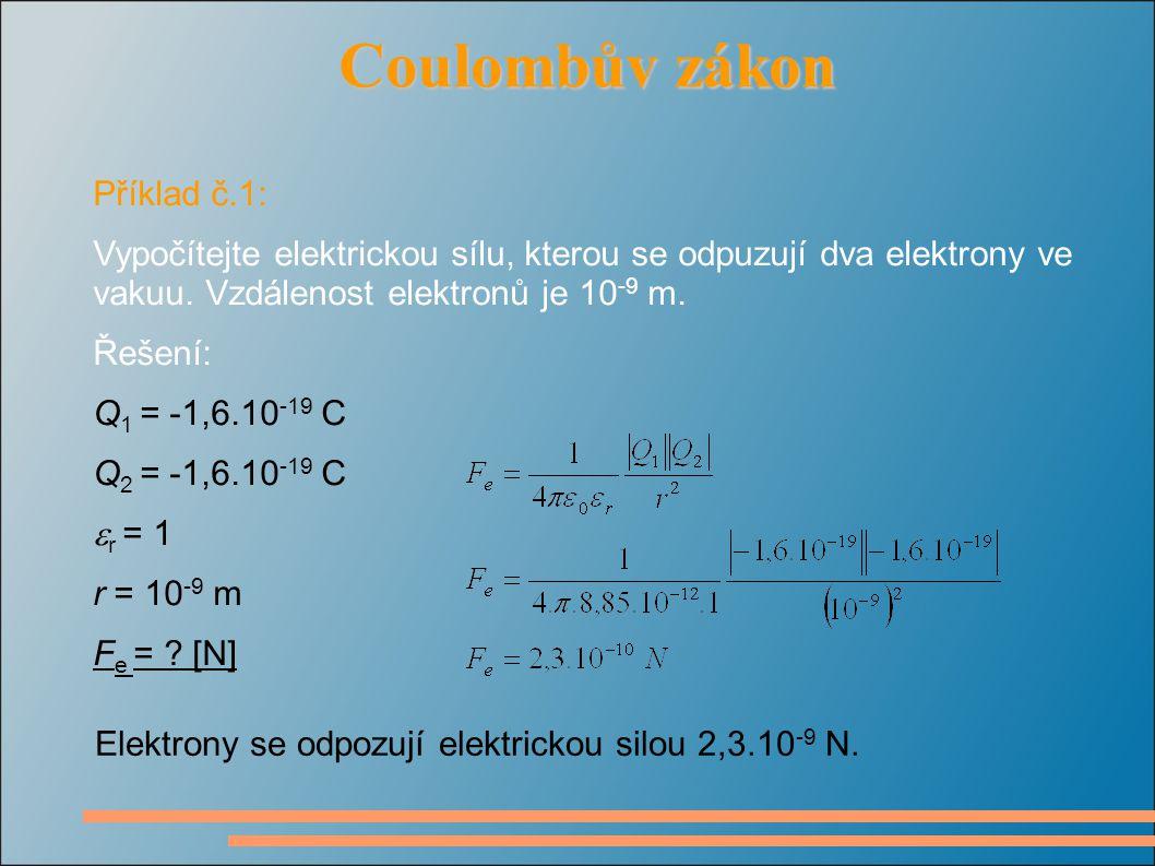 Coulombův zákon Coulombův zákon Příklad č.1: Vypočítejte elektrickou sílu, kterou se odpuzují dva elektrony ve vakuu.