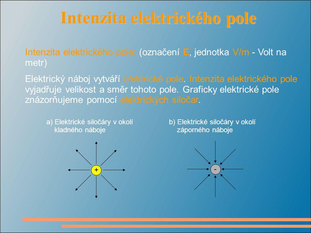 Intenzita elektrického pole Intenzita elektrického pole Intenzita elektrického pole: (označení E, jednotka V/m - Volt na metr) Elektrický náboj vytváří elektrické pole.