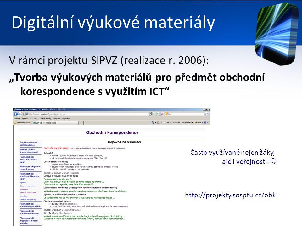 Digitální výukové materiály V rámci projektu SIPVZ (realizace r.