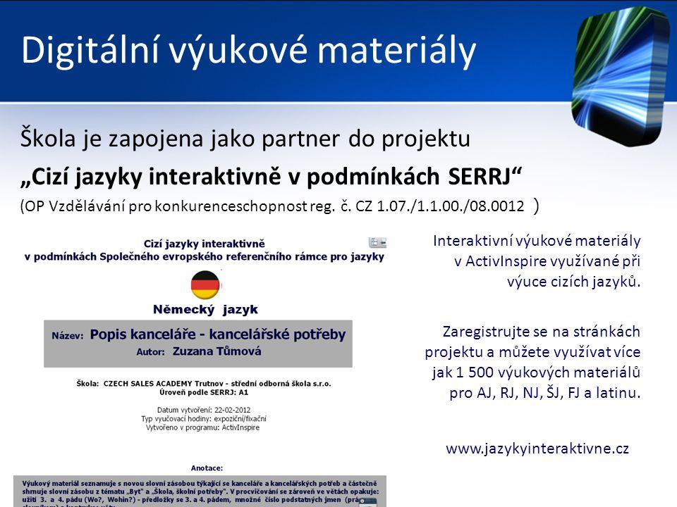 """Digitální výukové materiály Škola je zapojena jako partner do projektu """"Cizí jazyky interaktivně v podmínkách SERRJ (OP Vzdělávání pro konkurenceschopnost reg."""