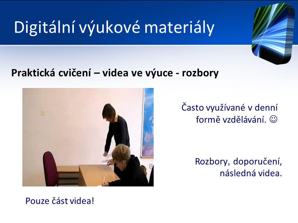 Digitální výukové materiály Praktická cvičení – videa ve výuce - rozbory Často využívané v denní formě vzdělávání.