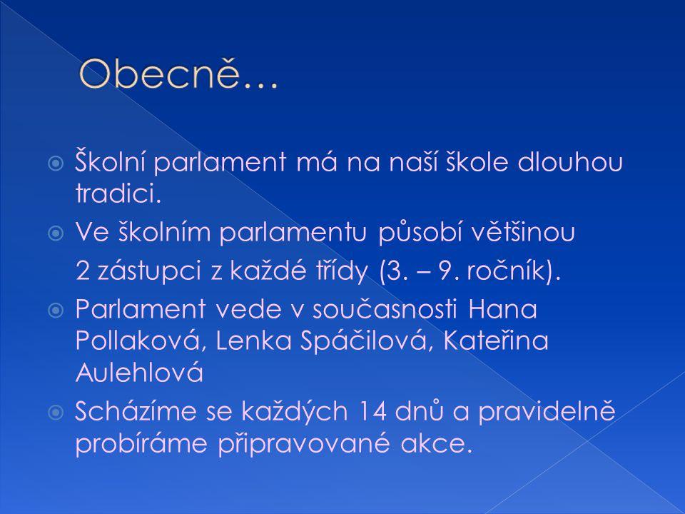  Školní parlament má na naší škole dlouhou tradici.  Ve školním parlamentu působí většinou 2 zástupci z každé třídy (3. – 9. ročník).  Parlament ve