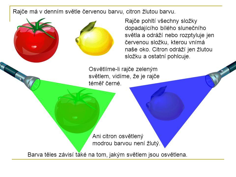 Rajče má v denním světle červenou barvu, citron žlutou barvu. Rajče pohltí všechny složky dopadajícího bílého slunečního světla a odráží nebo rozptylu