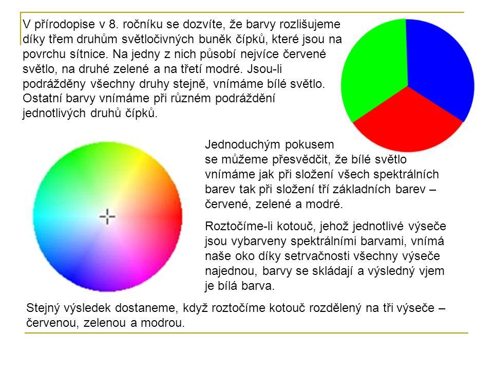 V přírodopise v 8. ročníku se dozvíte, že barvy rozlišujeme díky třem druhům světločivných buněk čípků, které jsou na povrchu sítnice. Na jedny z nich