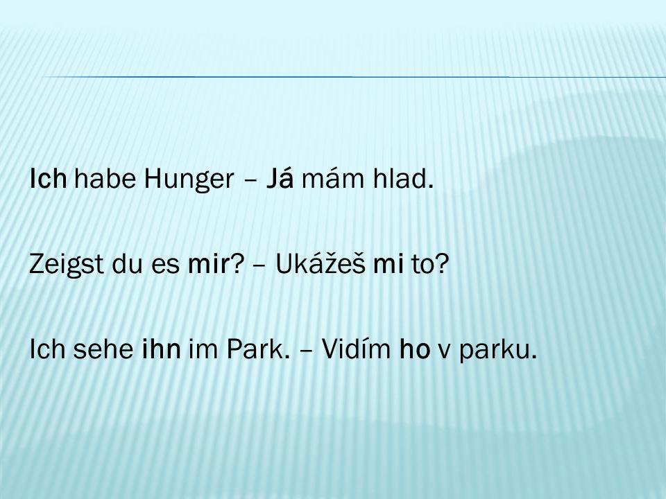 Ich habe Hunger – Já mám hlad. Zeigst du es mir? – Ukážeš mi to? Ich sehe ihn im Park. – Vidím ho v parku.