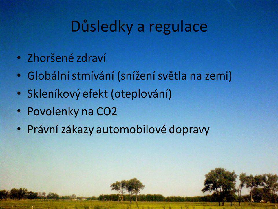 Důsledky a regulace Zhoršené zdraví Globální stmívání (snížení světla na zemi) Skleníkový efekt (oteplování) Povolenky na CO2 Právní zákazy automobilové dopravy