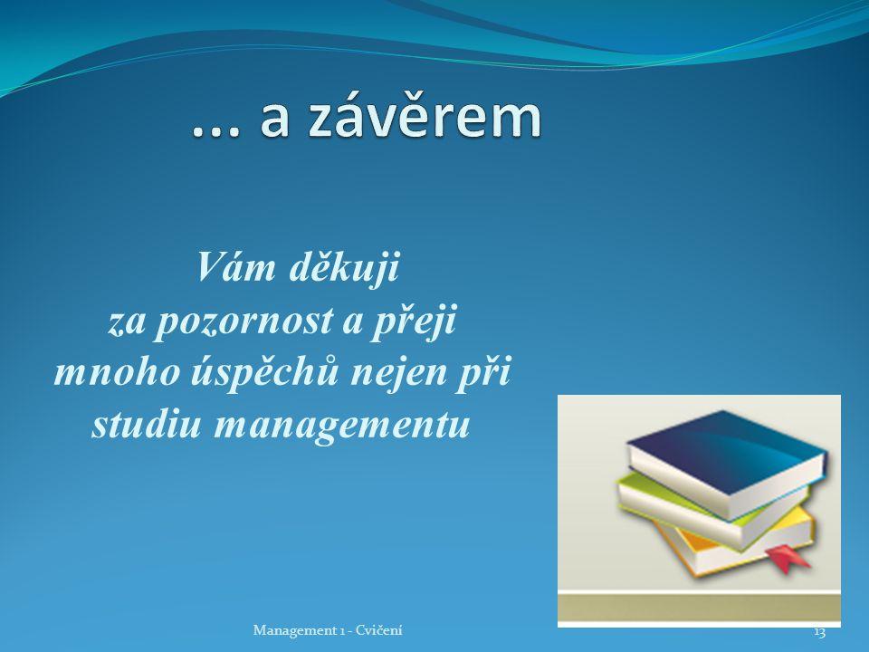 Vám děkuji za pozornost a přeji mnoho úspěchů nejen při studiu managementu Management 1 - Cvičení13