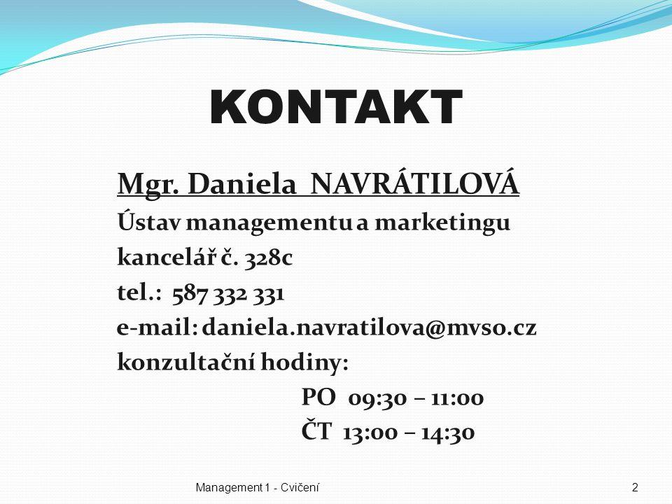 2 KONTAKT Mgr.Daniela NAVRÁTILOVÁ Ústav managementu a marketingu kancelář č.