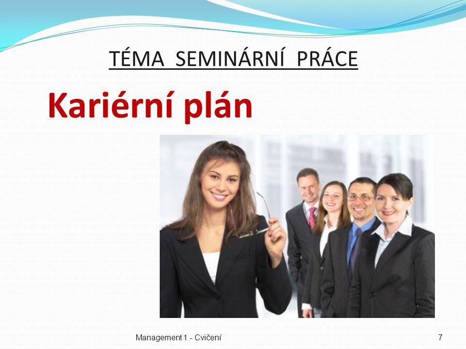 Management 1 - Cvičení7 TÉMA SEMINÁRNÍ PRÁCE Kariérní plán