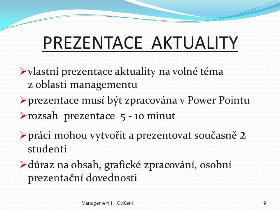 Management 1 - Cvičení10 DOPORUČENÁ LITERATURA (1/2)  Veber, J.