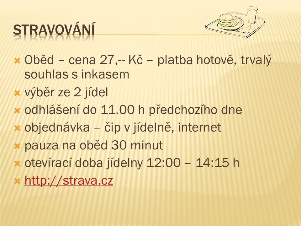  Oběd – cena 27,-- Kč – platba hotově, trvalý souhlas s inkasem  výběr ze 2 jídel  odhlášení do 11.00 h předchozího dne  objednávka – čip v jídelně, internet  pauza na oběd 30 minut  otevírací doba jídelny 12:00 – 14:15 h  http://strava.cz http://strava.cz