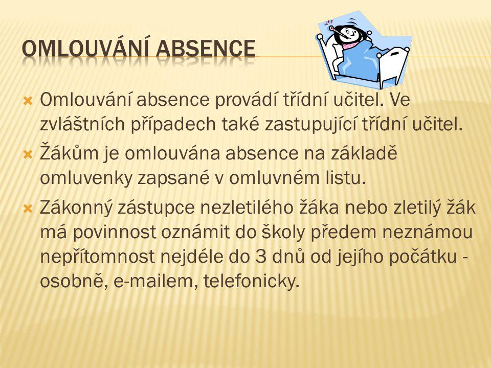 Omlouvání absence provádí třídní učitel.Ve zvláštních případech také zastupující třídní učitel.