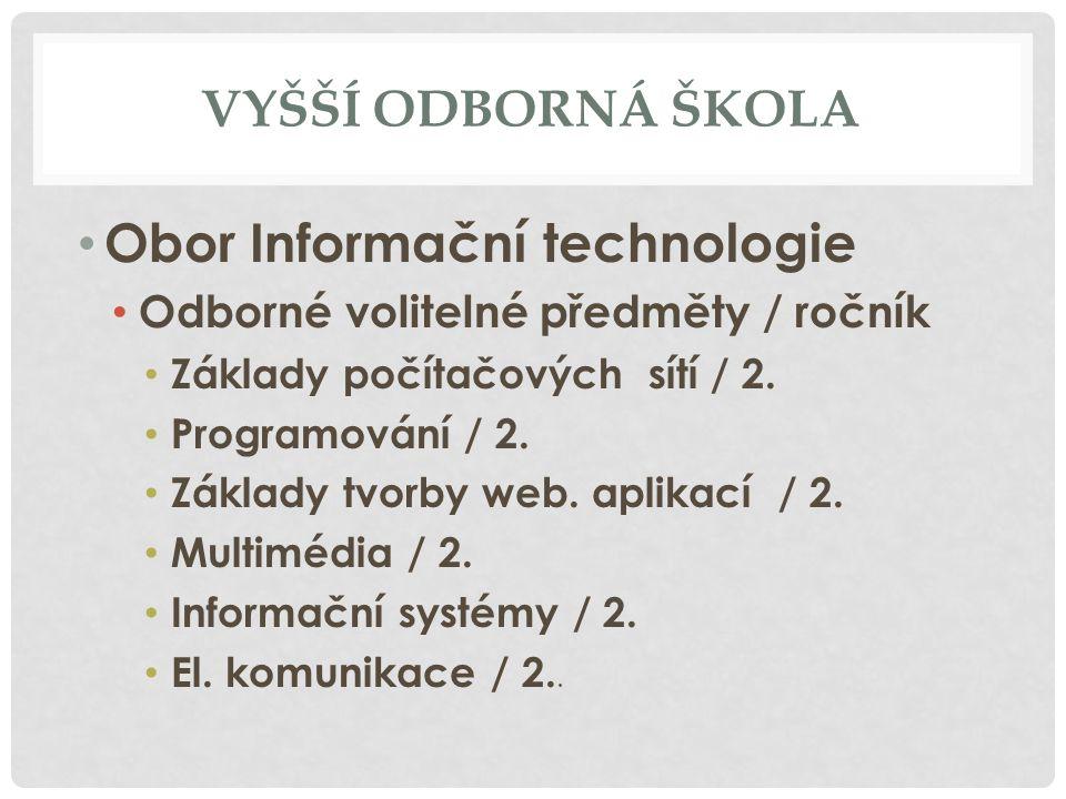VYŠŠÍ ODBORNÁ ŠKOLA Obor Informační technologie Odborné volitelné předměty / ročník Základy počítačových sítí / 2.