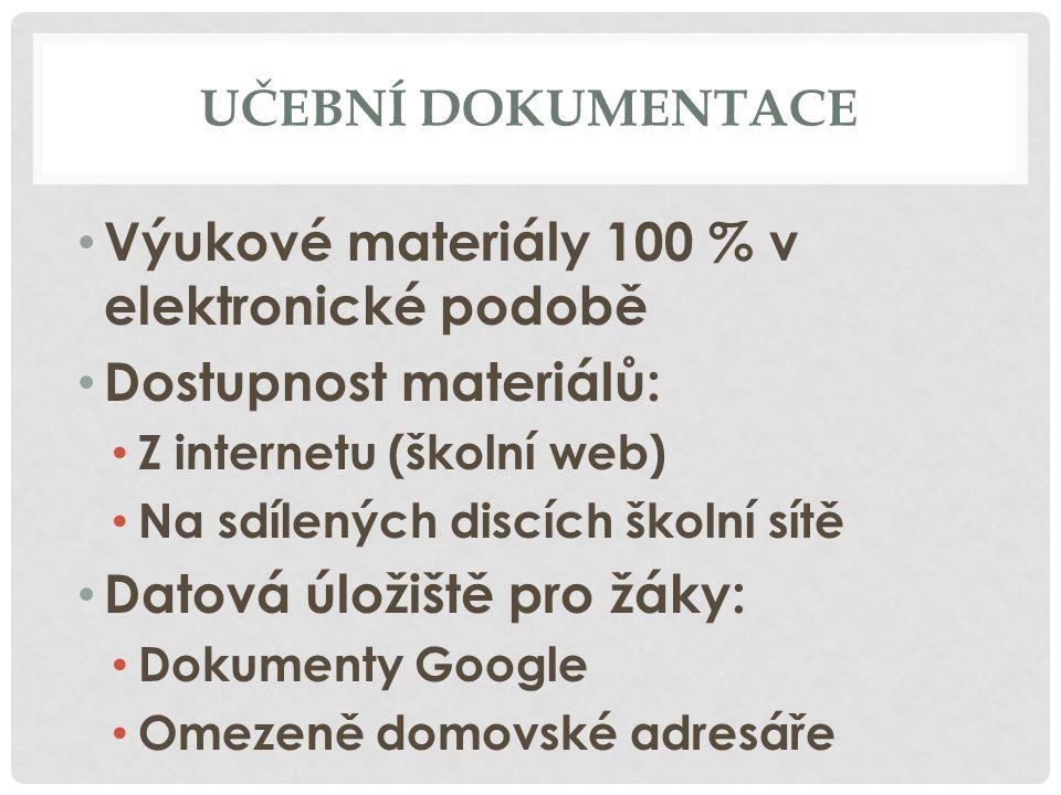 UČEBNÍ DOKUMENTACE Výukové materiály 100 % v elektronické podobě Dostupnost materiálů: Z internetu (školní web) Na sdílených discích školní sítě Datová úložiště pro žáky: Dokumenty Google Omezeně domovské adresáře