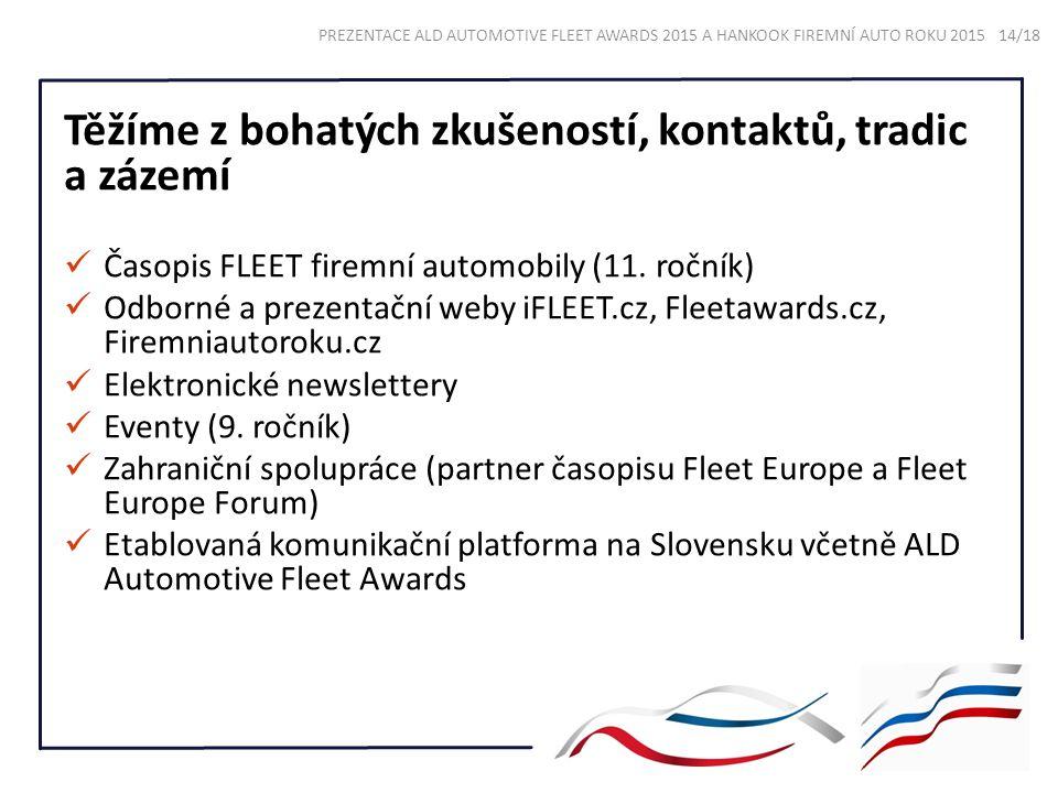 Těžíme z bohatých zkušeností, kontaktů, tradic a zázemí Časopis FLEET firemní automobily (11. ročník) Odborné a prezentační weby iFLEET.cz, Fleetaward