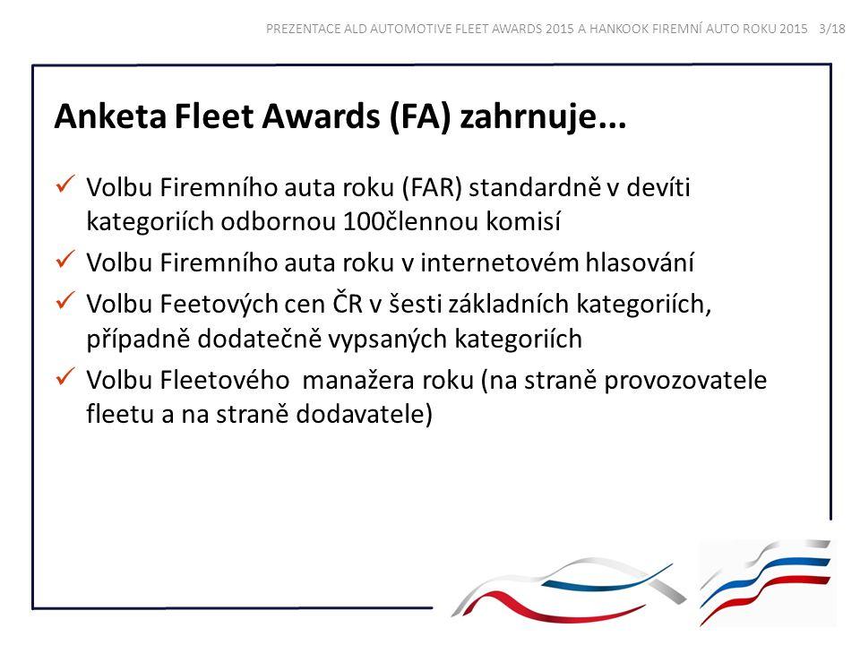 Anketa Fleet Awards (FA) zahrnuje... Volbu Firemního auta roku (FAR) standardně v devíti kategoriích odbornou 100člennou komisí Volbu Firemního auta r