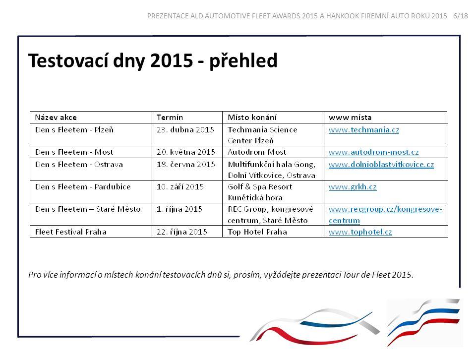 Testovací dny 2015 - přehled Pro více informací o místech konání testovacích dnů si, prosím, vyžádejte prezentaci Tour de Fleet 2015. PREZENTACE ALD A