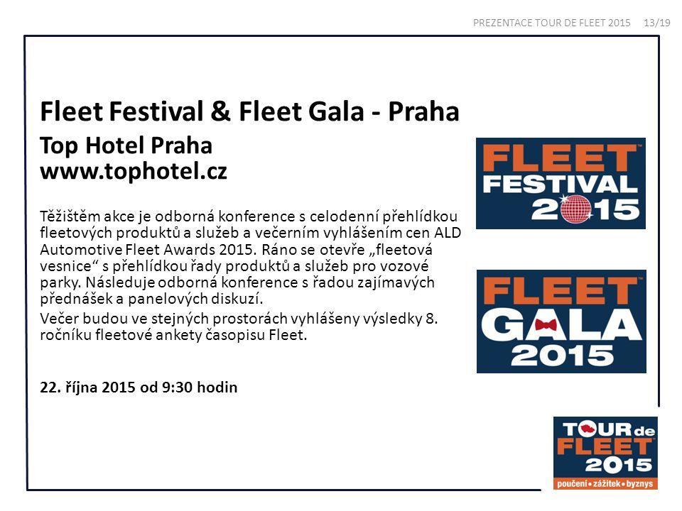 Fleet Festival & Fleet Gala - Praha Top Hotel Praha www.tophotel.cz Těžištěm akce je odborná konference s celodenní přehlídkou fleetových produktů a služeb a večerním vyhlášením cen ALD Automotive Fleet Awards 2015.