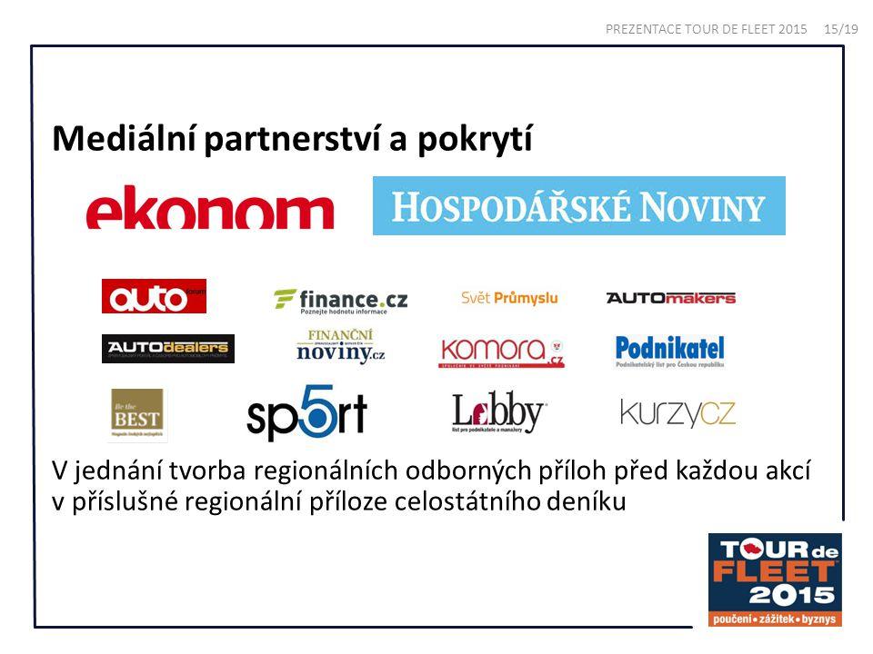 Mediální partnerství a pokrytí V jednání tvorba regionálních odborných příloh před každou akcí v příslušné regionální příloze celostátního deníku PREZENTACE TOUR DE FLEET 2015 15/19