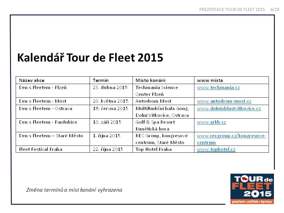 Kalendář Tour de Fleet 2015 Změna termínů a míst konání vyhrazena PREZENTACE TOUR DE FLEET 2015 4/19