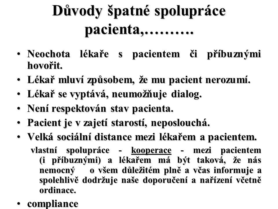 Důvody špatné spolupráce pacienta,………. Neochota lékaře s pacientem či příbuznými hovořit.Neochota lékaře s pacientem či příbuznými hovořit. Lékař mluv