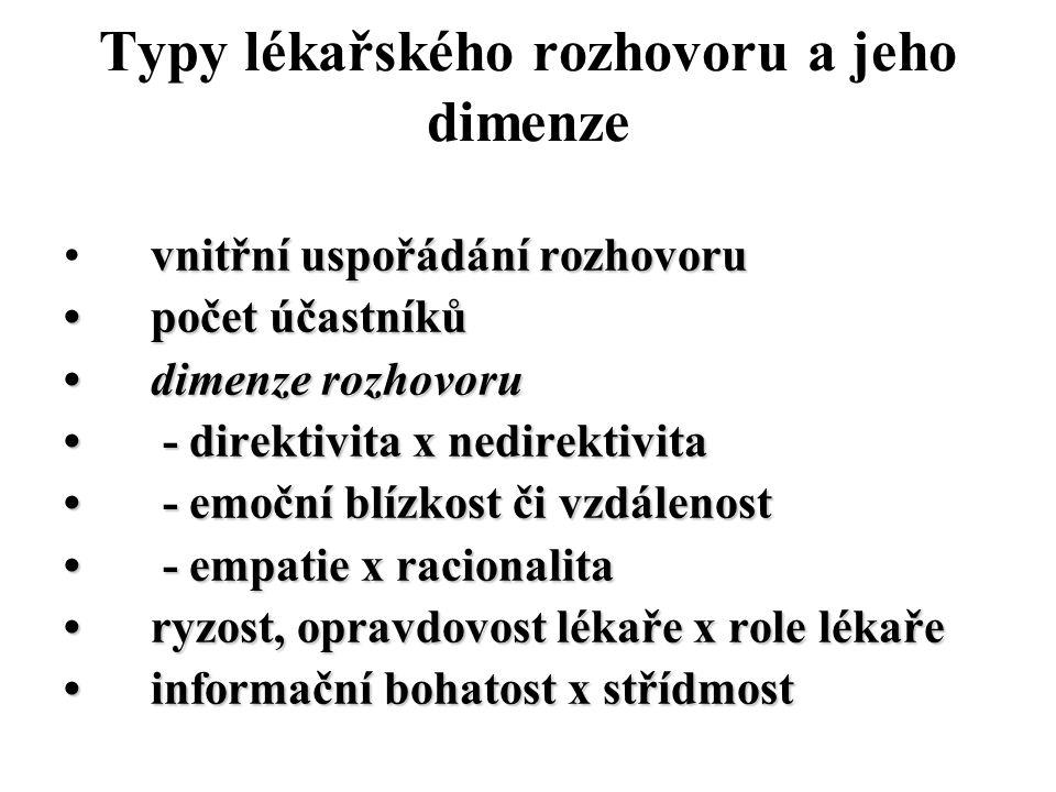vnitřní uspořádání rozhovoru počet účastníků počet účastníků dimenze rozhovoru dimenze rozhovoru - direktivita x nedirektivita - direktivita x nedirek