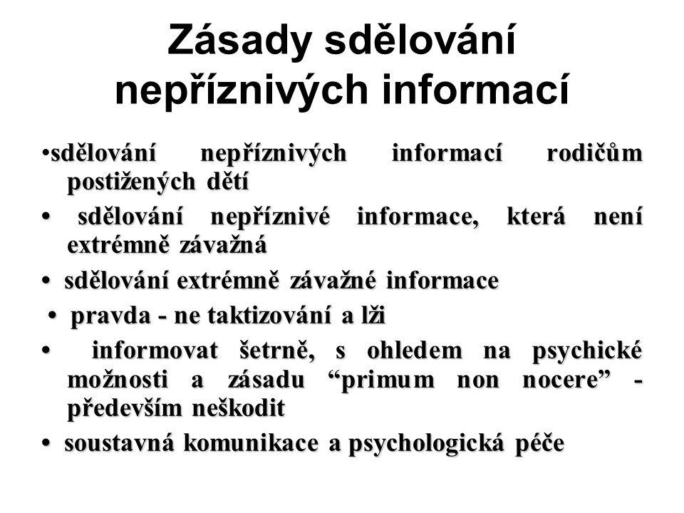 Zásady sdělování nepříznivých informací sdělování nepříznivých informací rodičům postižených dětísdělování nepříznivých informací rodičům postižených