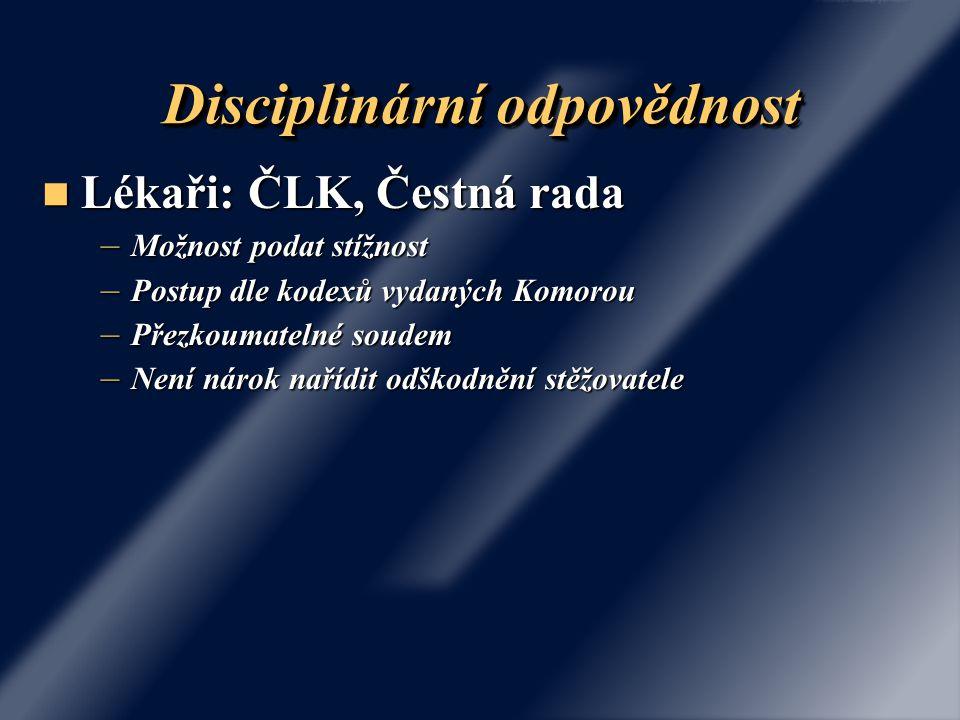 Disciplinární odpovědnost Lékaři: ČLK, Čestná rada Lékaři: ČLK, Čestná rada – Možnost podat stížnost – Postup dle kodexů vydaných Komorou – Přezkoumat