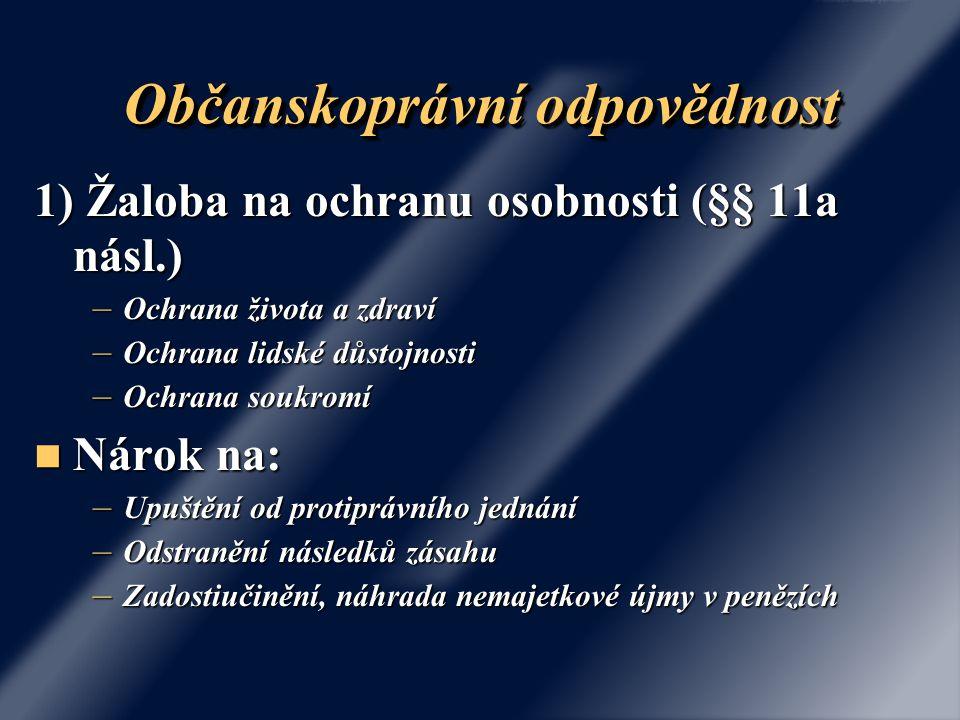 Občanskoprávní odpovědnost 1) Žaloba na ochranu osobnosti (§§ 11a násl.) – Ochrana života a zdraví – Ochrana lidské důstojnosti – Ochrana soukromí Nár