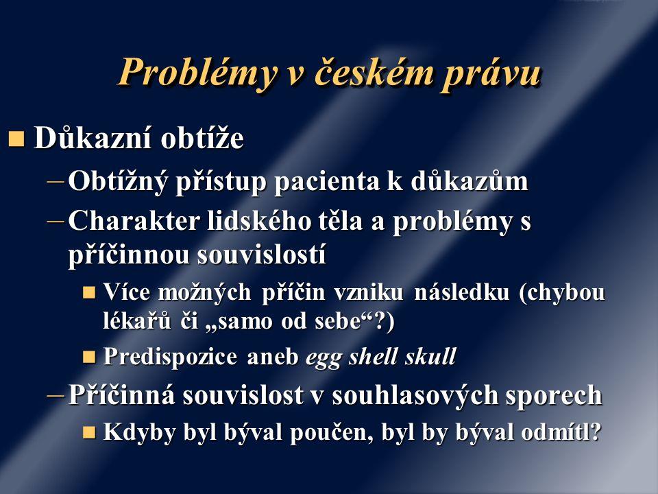 Problémy v českém právu Důkazní obtíže Důkazní obtíže – Obtížný přístup pacienta k důkazům – Charakter lidského těla a problémy s příčinnou souvislost