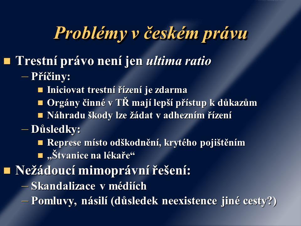 Problémy v českém právu Trestní právo není jen ultima ratio Trestní právo není jen ultima ratio – Příčiny: Iniciovat trestní řízení je zdarma Iniciova