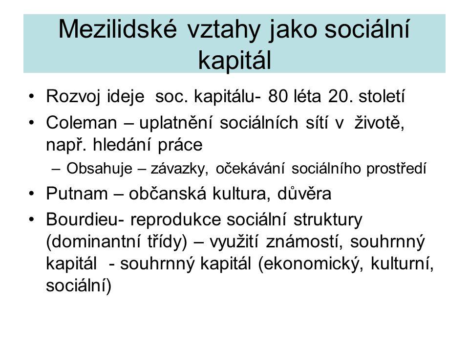 Mezilidské vztahy jako sociální kapitál Rozvoj ideje soc.