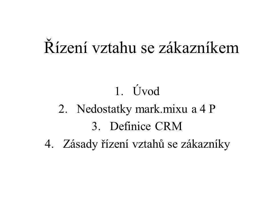 Řízení vztahu se zákazníkem 1.Úvod 2.Nedostatky mark.mixu a 4 P 3.Definice CRM 4.Zásady řízení vztahů se zákazníky