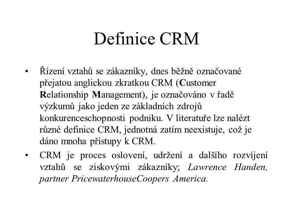 Definice CRM Řízení vztahů se zákazníky, dnes běžně označované přejatou anglickou zkratkou CRM (Customer Relationship Management), je označováno v řadě výzkumů jako jeden ze základních zdrojů konkurenceschopnosti podniku.