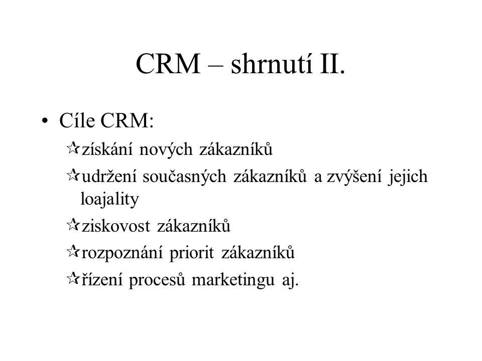 CRM – shrnutí II.