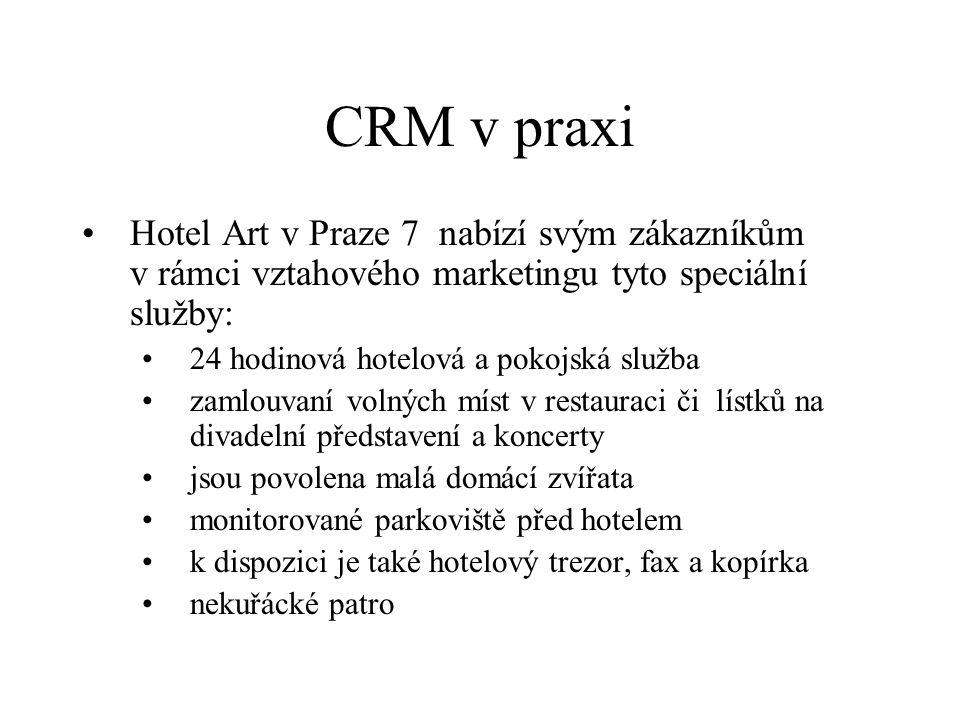 CRM v praxi Hotel Art v Praze 7 nabízí svým zákazníkům v rámci vztahového marketingu tyto speciální služby: 24 hodinová hotelová a pokojská služba zamlouvaní volných míst v restauraci či lístků na divadelní představení a koncerty jsou povolena malá domácí zvířata monitorované parkoviště před hotelem k dispozici je také hotelový trezor, fax a kopírka nekuřácké patro
