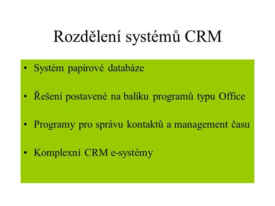 Rozdělení systémů CRM Systém papírové databáze Řešení postavené na balíku programů typu Office Programy pro správu kontaktů a management času Komplexní CRM e-systémy