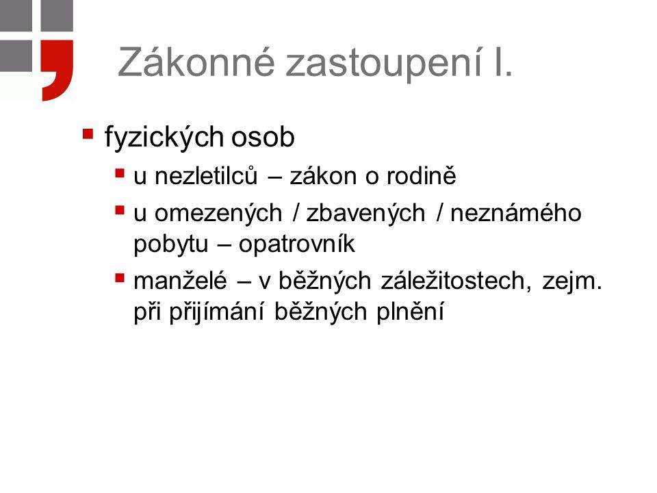 Zákonné zastoupení II.