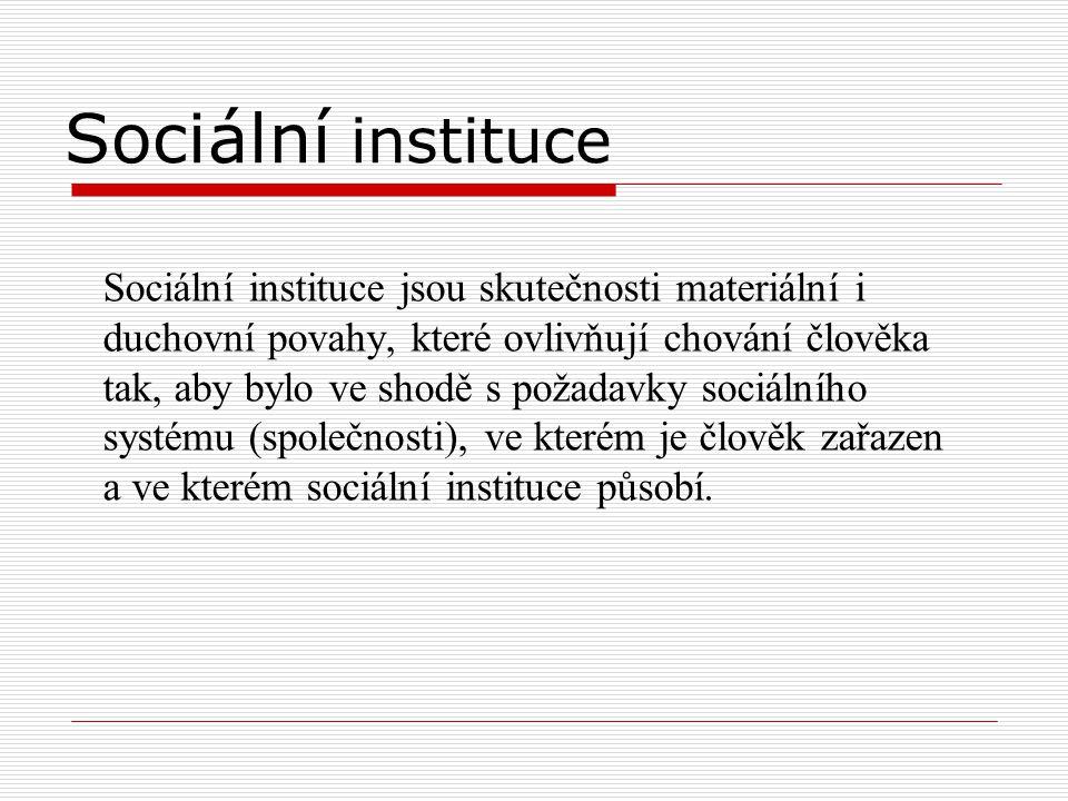 Sociální instituce Sociální instituce jsou skutečnosti materiální i duchovní povahy, které ovlivňují chování člověka tak, aby bylo ve shodě s požadavk