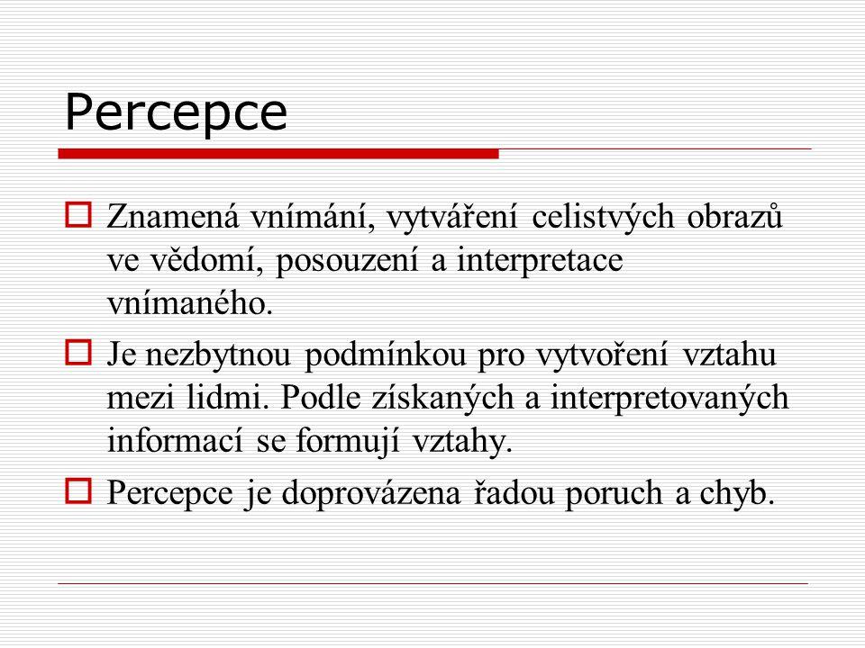 Percepce  Znamená vnímání, vytváření celistvých obrazů ve vědomí, posouzení a interpretace vnímaného.  Je nezbytnou podmínkou pro vytvoření vztahu m