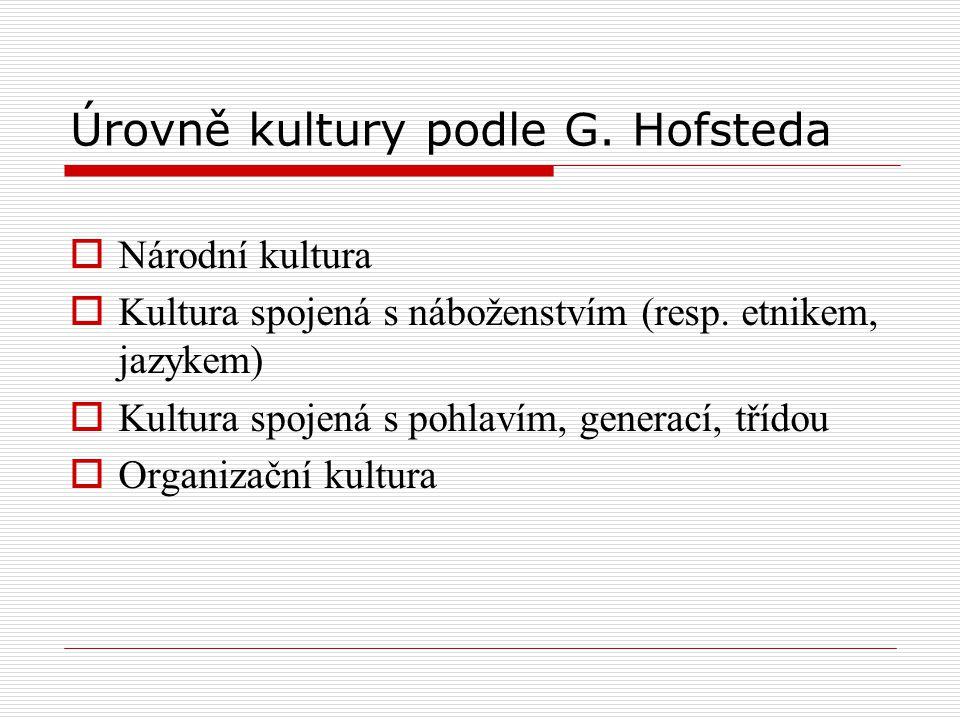 Úrovně kultury podle G. Hofsteda  Národní kultura  Kultura spojená s náboženstvím (resp. etnikem, jazykem)  Kultura spojená s pohlavím, generací, t