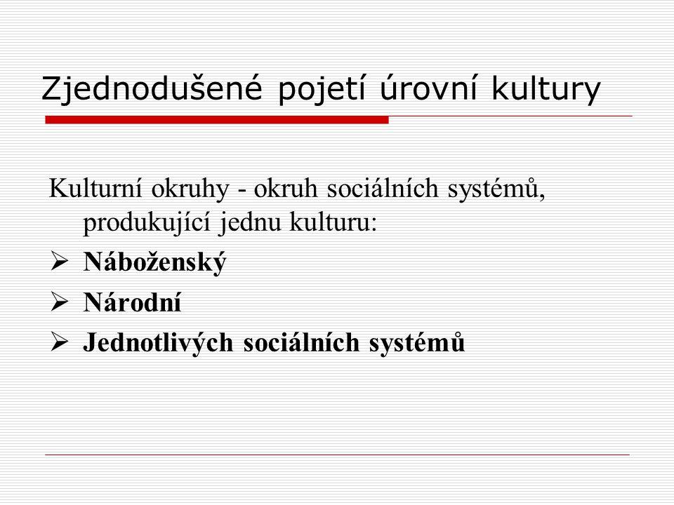 Zjednodušené pojetí úrovní kultury Kulturní okruhy - okruh sociálních systémů, produkující jednu kulturu:  Náboženský  Národní  Jednotlivých sociál
