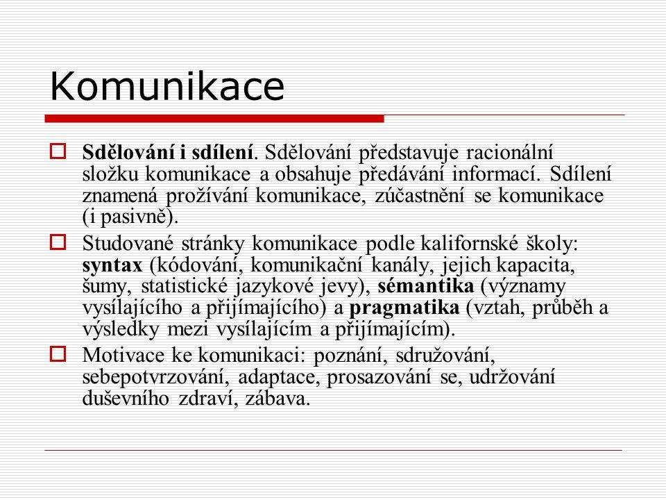 Komunikace  Sdělování i sdílení. Sdělování představuje racionální složku komunikace a obsahuje předávání informací. Sdílení znamená prožívání komunik