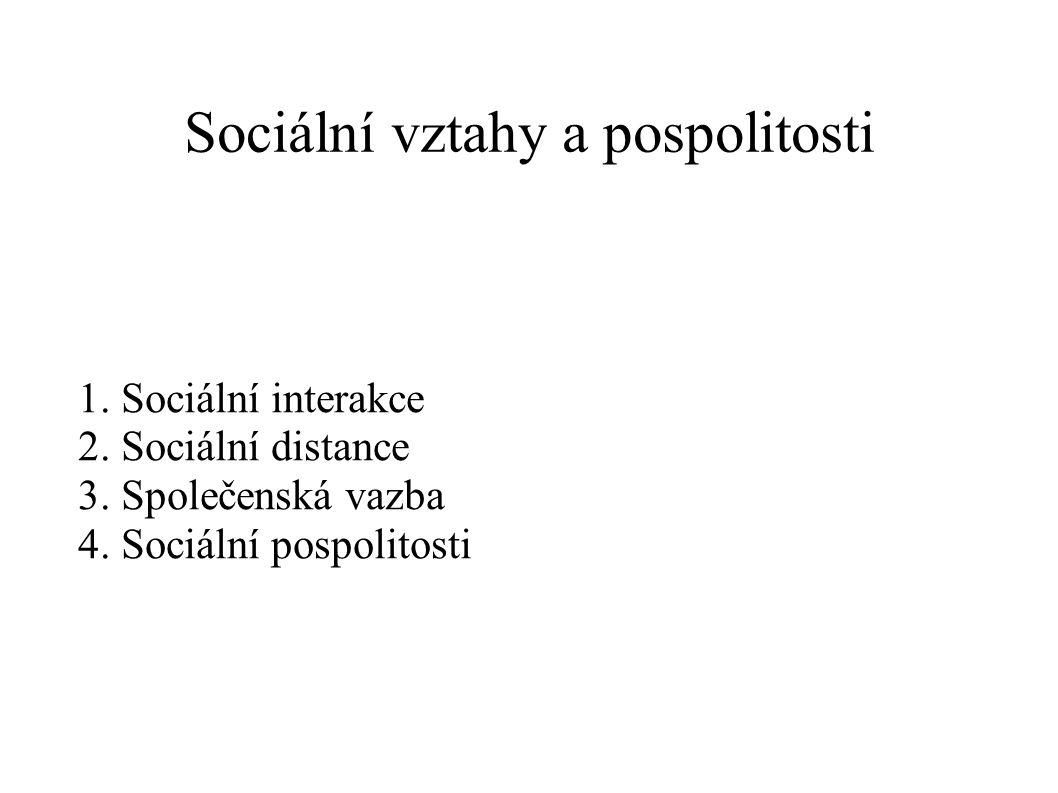 Sociální vztahy a pospolitosti 1. Sociální interakce 2. Sociální distance 3. Společenská vazba 4. Sociální pospolitosti