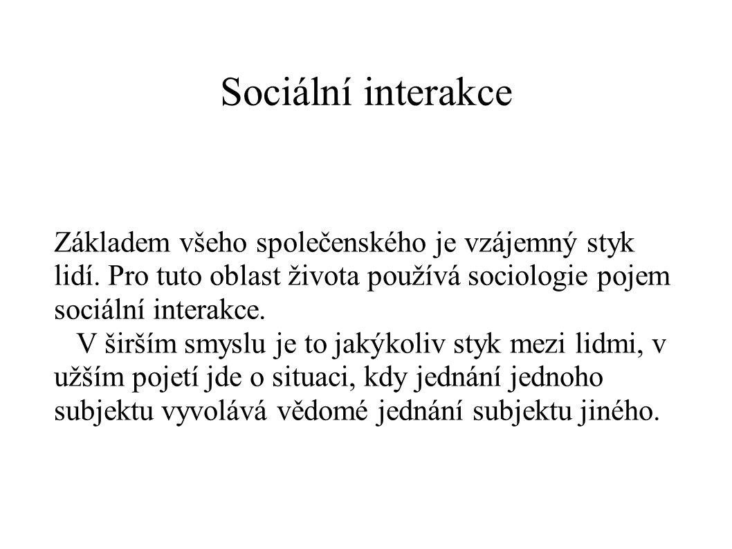 Sociální interakce Základem všeho společenského je vzájemný styk lidí. Pro tuto oblast života používá sociologie pojem sociální interakce. V širším sm