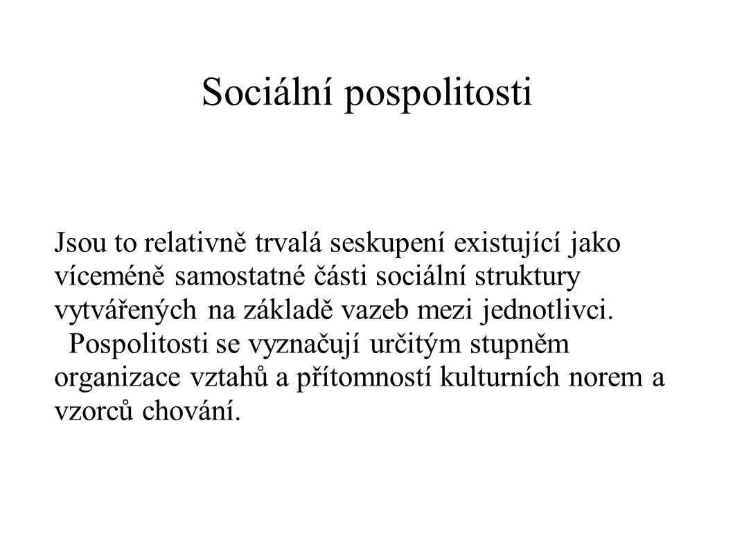 Sociální pospolitosti Jsou to relativně trvalá seskupení existující jako víceméně samostatné části sociální struktury vytvářených na základě vazeb mez