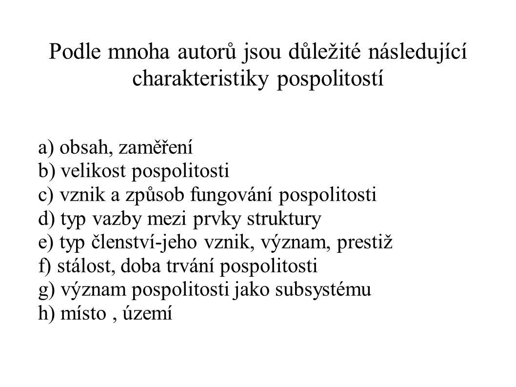 Podle mnoha autorů jsou důležité následující charakteristiky pospolitostí a) obsah, zaměření b) velikost pospolitosti c) vznik a způsob fungování posp