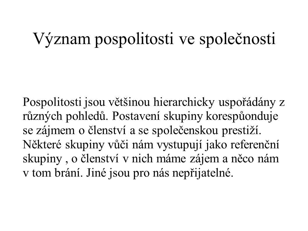 Význam pospolitosti ve společnosti Pospolitosti jsou většinou hierarchicky uspořádány z různých pohledů. Postavení skupiny korespůonduje se zájmem o č