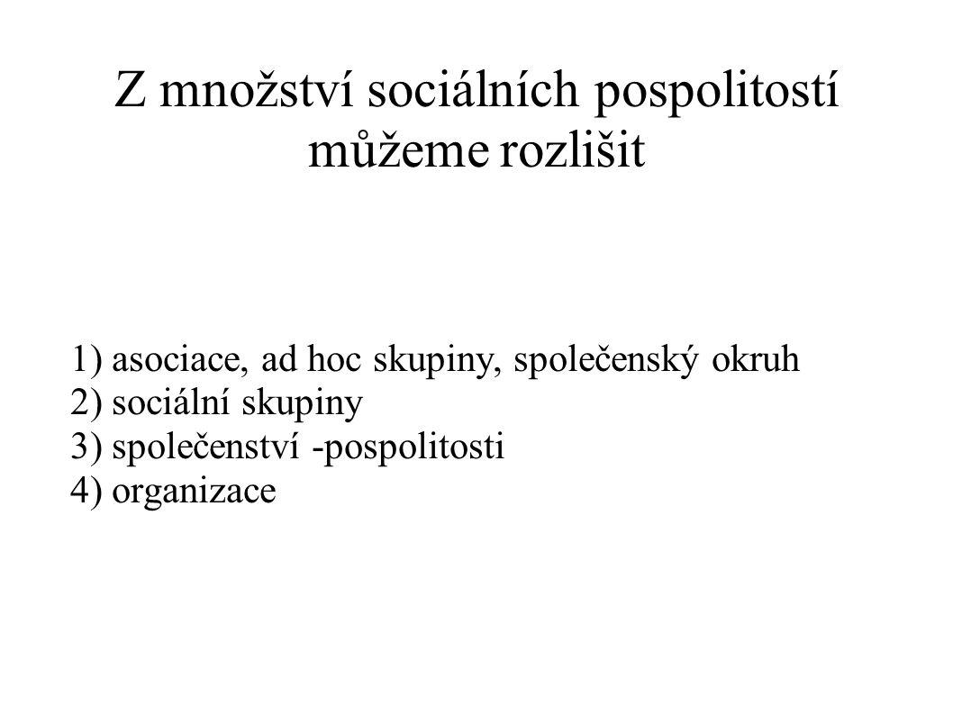 Z množství sociálních pospolitostí můžeme rozlišit 1) asociace, ad hoc skupiny, společenský okruh 2) sociální skupiny 3) společenství -pospolitosti 4)