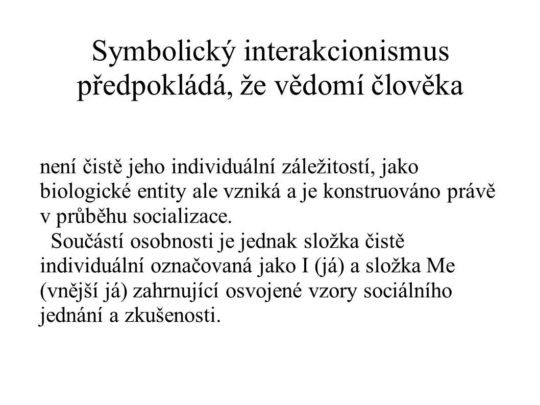 Symbolický interakcionismus předpokládá, že vědomí člověka není čistě jeho individuální záležitostí, jako biologické entity ale vzniká a je konstruová